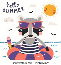 Hand drawn vector illustration of a cute raccoon swimming, with lettering quote Hello Summer. Isolated objects on white background. Scandinavian style flat design. Concept for children print.