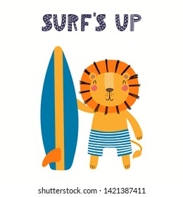 Hand drawn vector illustration of a cute lion in summer, with surfboard, lettering quote Surfs up. Isolated objects on white background. Scandinavian style flat design. Concept for children print.