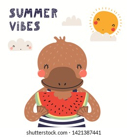 Hand drawn vector illustration of a cute platypus eating watermelon, with lettering quote Summer vibes. Isolated objects on white background. Scandinavian style flat design. Concept for children print