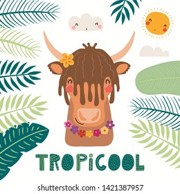 Hand drawn vector illustration of a cute yak in summer in flower necklace, with lettering quote Tropicool. Isolated objects on white background. Scandinavian style flat design. Concept for kids print.