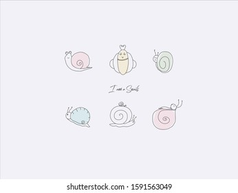 Hand drawn vector illustration of cute snail, simple line-drawing snail,Sleeping snail
