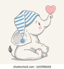 Hand drawn vector illustration of a cute baby elephant in a striped sleeping cap.