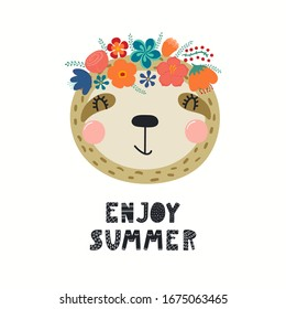Hand drawn vector illustration of a cute sloth face in a flower crown, with lettering quote Emjoy Summer. Isolated objects on white. Scandinavian style flat design. Concept for children print.