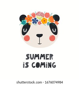 Hand drawn vector illustration of a cute panda face in a flower crown, with lettering quote Summer Is Coming. Isolated objects on white. Scandinavian style flat design. Concept for children print.