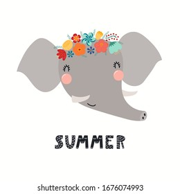 Hand drawn vector illustration of a cute elephant face in a flower crown, with lettering quote Summer. Isolated objects on white. Scandinavian style flat design. Concept for children print.