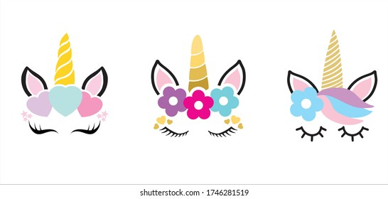Hand drawn vector illustration of a cute funny unicorn heads with a set of different accessories. Design concept for children t shirts, stationery, bags and wall art prints.