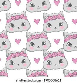 Hand Drawn Vector Illustration of cute cat illustration pattern, print design cat and heart, children print sketch cat seamless