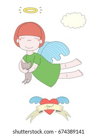 Hand drawn vector illustration of a cute little angel girl with halo, holding kitten, with winged heart and text Angel on a ribbon. Isolated objects on white background. Design concept for children.