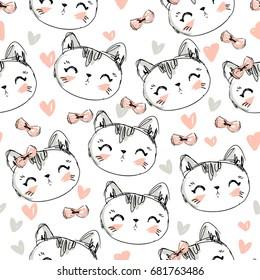 Hand Drawn Vector Illustration of cute cat vector illustration pattern, print design cat, children print on t-shirt, sketch cat seamless