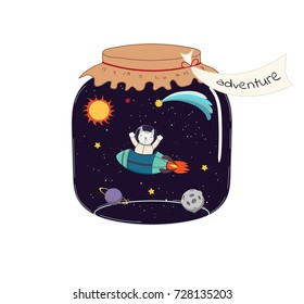 Hand drawn vector illustration of a cute funny cat flying in a rocket in outer space, in a glass jar with label Adventure. Isolated objects on white background. Design concept for kids, card, poster.