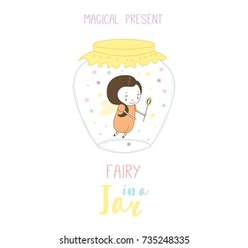 Hand drawn vector illustration of a cute funny cartoon fairy in a glass jar, with text Magical present. Isolated objects on white background. Design concept kids, greeting card, motivational poster.