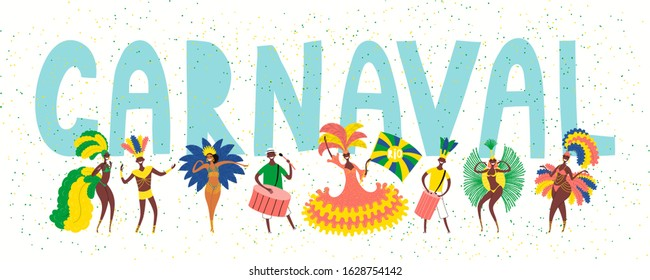 Hand drawn vector illustration with dancing people in bright costumes, drummers, Portuguese text Carnaval. Flat style design. Concept for Rio de Janeiro, Brazilian carnival poster, flyer, banner.
