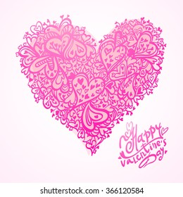 Hand drawn vector illustration of decorative heart for happy valentine's day isolated on white background. Heart ornament element for romantic and wedding designs. Pattern of hearts.