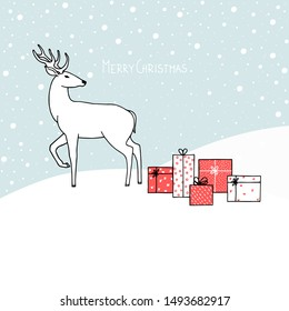 Hand drawn vector illustration of a deer with gift boxes on snowy hills. Winter Christmas concept.