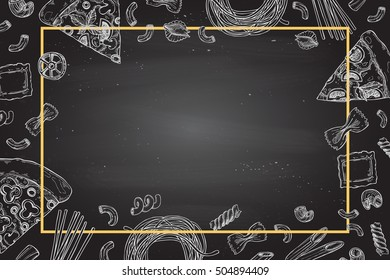 Hand drawn vector illustration - Different kinds of pasta and pizza. Design elements in sketch style. Perfect for menu, cards, blogs, banners.