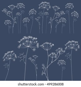 Hand drawn vector illustration of dill or fennel flowers and leaves. White floral outlines on blue background.EPS 8 stock vector.