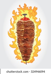 Hand drawn vector illustration of Doner Kebab on pole, grilling in front of flames with fat and tomatoes on top of it.