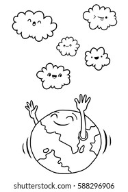 Hand Drawn Vector Illustration of Doodle world and cloud , illustrator line tools drawing,Flat Design