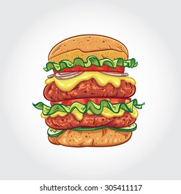Hand drawn vector illustration of a Double Decker Burger on white background.
