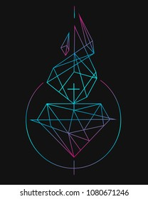 Hand drawn vector illustration or drawing of Jesus Christ Sacred Heart in a modern contemporary polygonal style