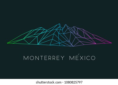 Hand drawn vector illustration or drawing of: Cerro de la Silla Mountain in Monterrey Mexico