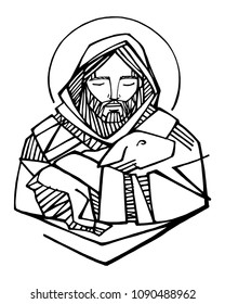 Hand drawn vector illustration or drawing of Jesus Christ Good Shepherd and sheep
