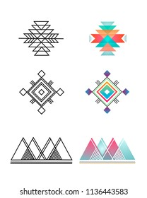 Hand drawn vector illustration or drawing of some Abstract indigenous geometric symbols