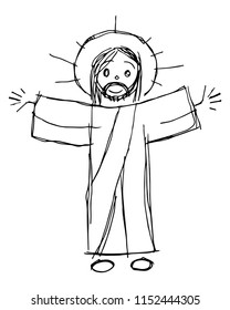 Hand drawn vector illustration or drawing of Jesus Christ in a childish style