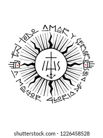Hand drawn vector illustration or drawing of a religious christian jesuit symbol and phrase in spanish that means: In all Love and Serve for the greater Glory of God