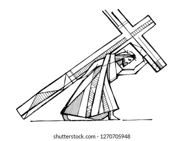 Hand drawn vector illustration or drawing of Jesus Christ carrying the Cross