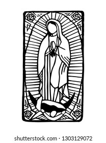 Hand drawn vector illustration or drawing of mexican Virgin Mary of Guadalupe,