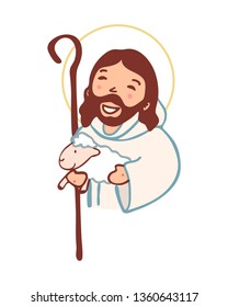 Hand drawn vector illustration or drawing of Jesus Christ Good Shepherd in a cartoon style