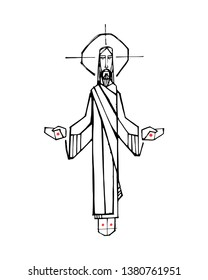 Hand drawn vector illustration or drawing of Jesus Christ with open arms and hands