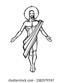 Hand drawn vector illustration or drawing of Jesus Christ Resurrection