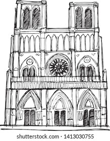 Hand drawn vector illustration or drawing of Nortre Dame cathedral