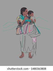 Hand drawn vector illustration or drawing of an indigenous woman and a child
