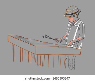 Hand drawn vector illustration or drawing of young musician playing the traditional mexican marimba instrument
