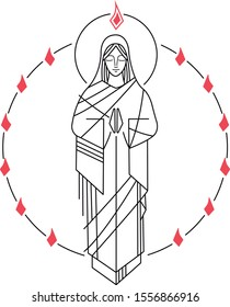 Hand drawn vector illustration or drawing of Virgin Mary and Holy Spirit at Pentecost