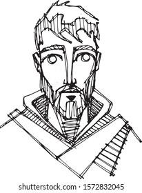 Hand drawn vector illustration or drawing of Sain Francis of Asis