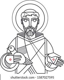 Hand drawn vector illustration or drawing of Saint Francis of Asis