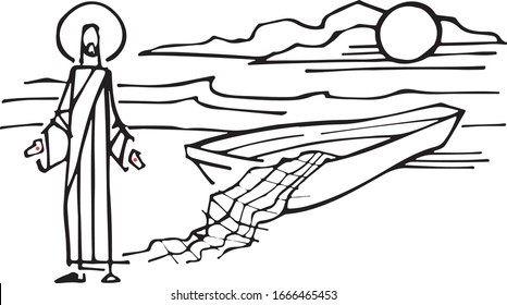 Hand drawn vector illustration or drawing of Jesus Christ with boat and fishing nets