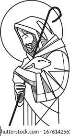 Hand drawn vector illustration or drawing of Jesus Good Shepherd