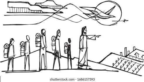 Hand drawn vector illustration or drawing of Jesus Christ and Holy Spirit inviting some people to walk with Him