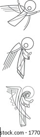 Hand drawn vector illustration or drawing of three angels in minimalist style