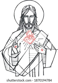 Hand drawn vector illustration or drawing of Jesus Christ and Sacred Heart