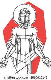 Hand drawn vector illustration or drawing of Jesus Christ as a prisioner at his Passion
