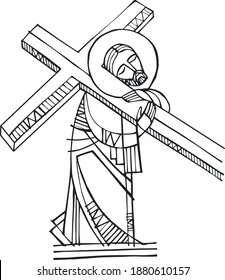 Hand drawn vector illustration or drawing of Jesus Christ with the Cross illustration