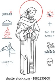 Hand drawn vector illustration or drawing of JSaint Francis of Asis and christian symbols with phrases in latin that means: Praise you, Peace and good