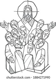 Hand drawn vector illustration or drawing of Jesus Christ with disciples