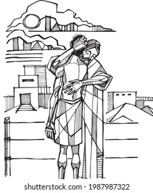 Hand drawn vector illustration or drawing of the christian biblical parabole of the prodigal son